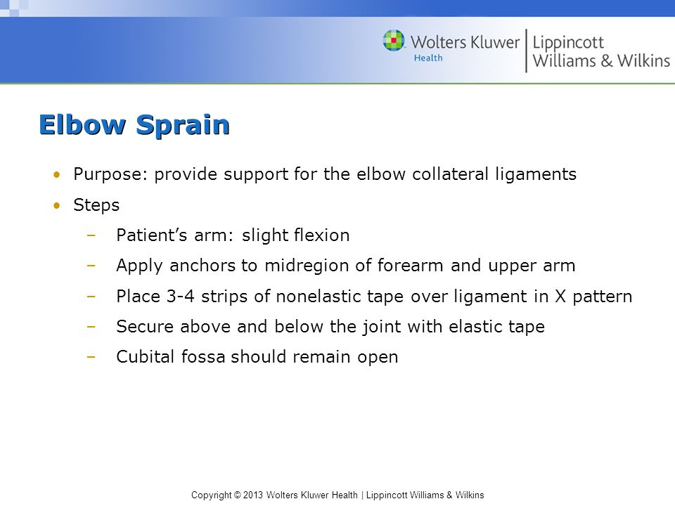 Elbow Sprain Purpose: provide support for the elbow collateral ligaments. Steps. Patient's arm: slight flexion.