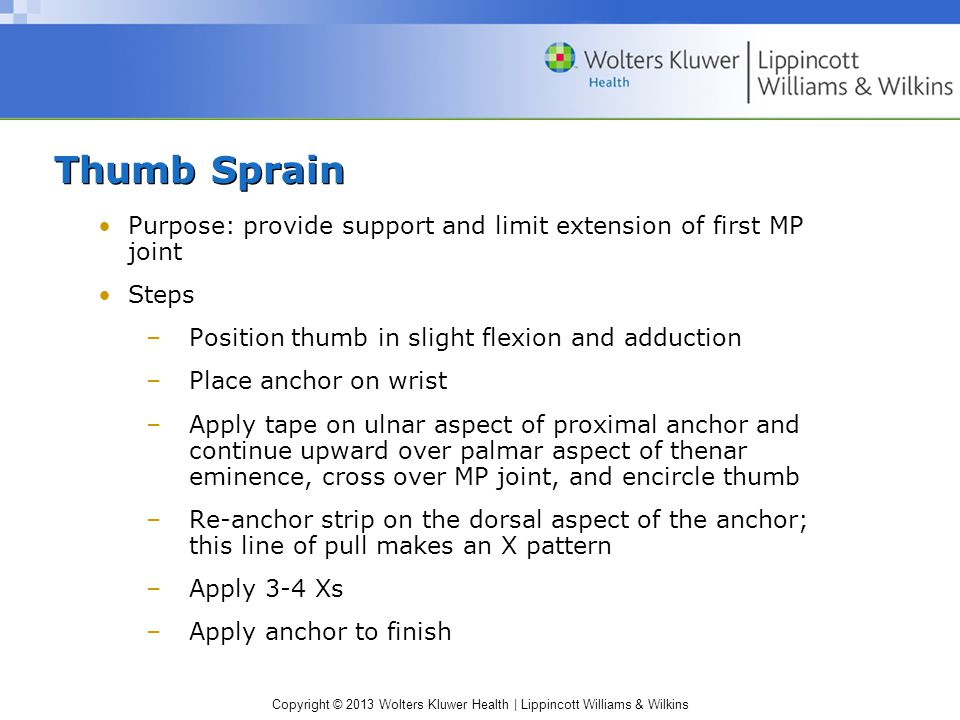 Thumb Sprain Purpose: provide support and limit extension of first MP joint. Steps. Position thumb in slight flexion and adduction.