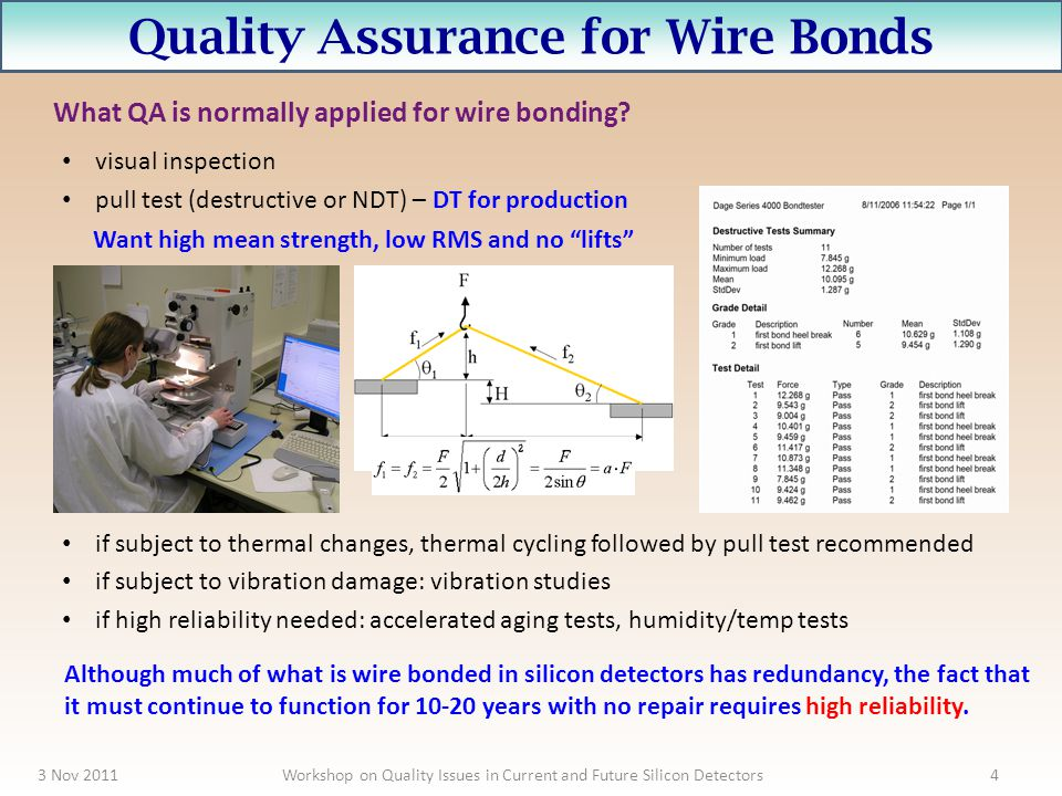 Quality Assurance for Wire Bonds