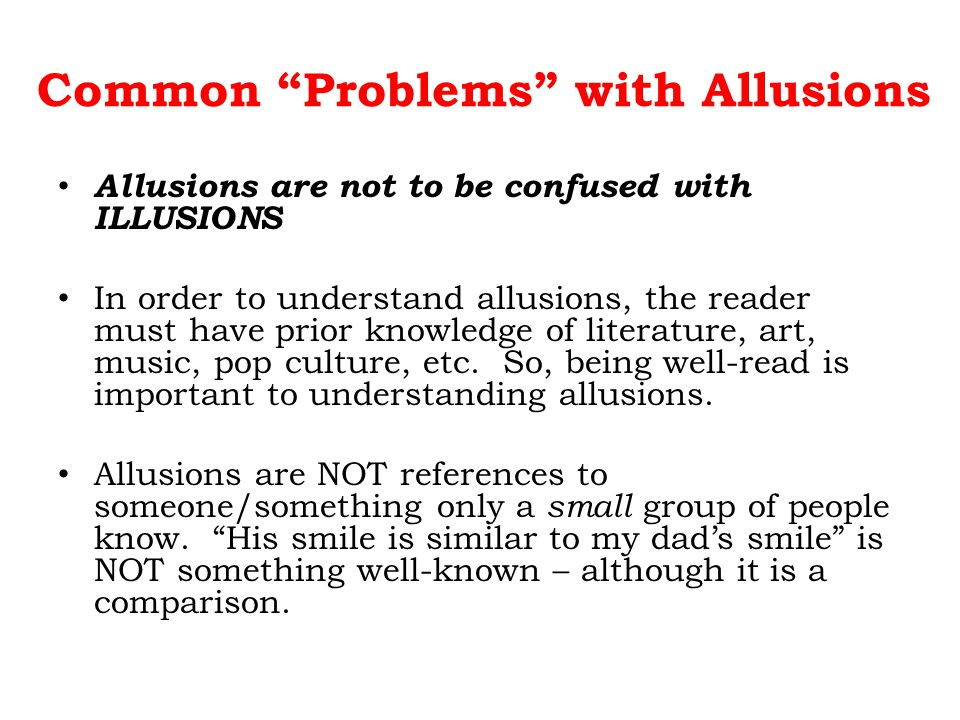 Common Problems with Allusions