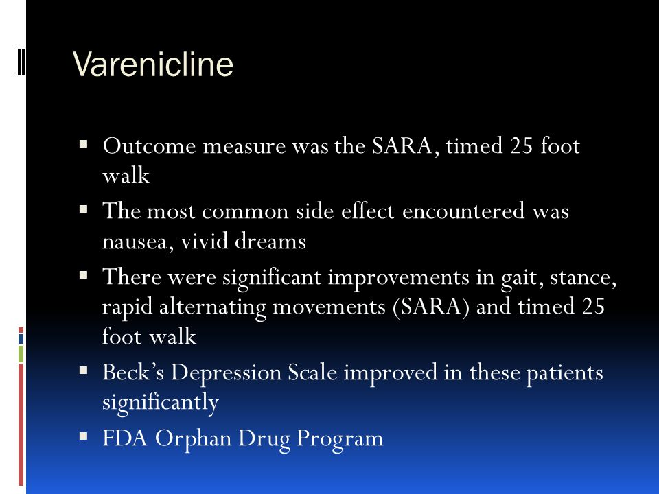 Varenicline Outcome measure was the SARA, timed 25 foot walk