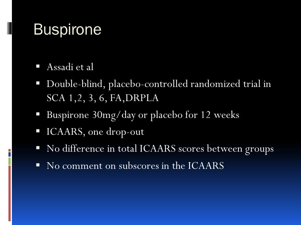 Buspirone Assadi et al. Double-blind, placebo-controlled randomized trial in SCA 1,2, 3, 6, FA,DRPLA.
