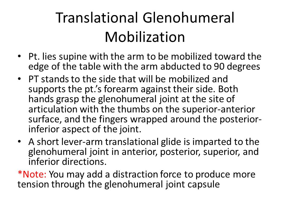 Translational Glenohumeral Mobilization