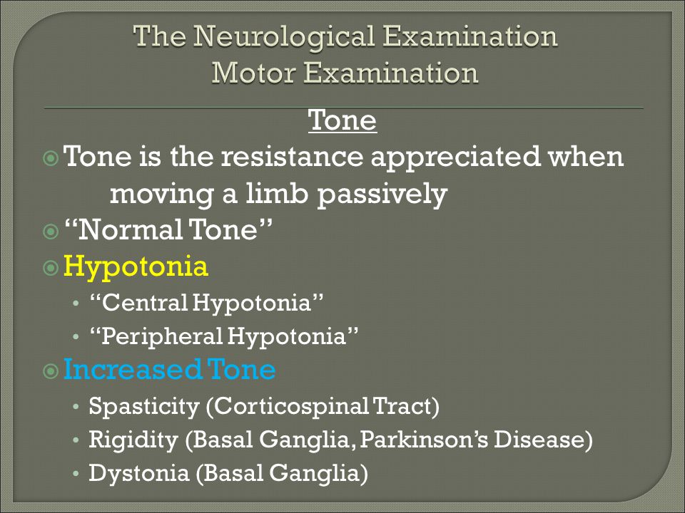 The Neurological Examination Motor Examination