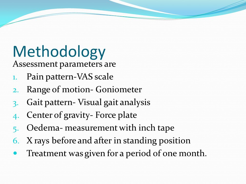 Methodology Assessment parameters are Pain pattern-VAS scale