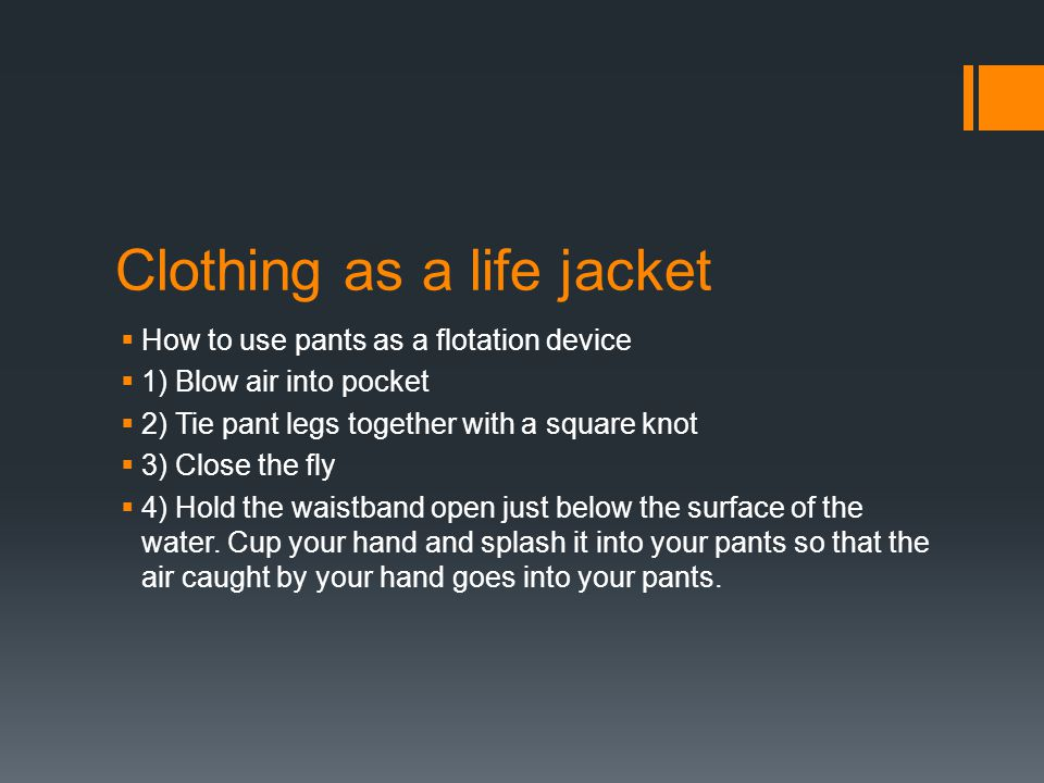 Clothing as a life jacket