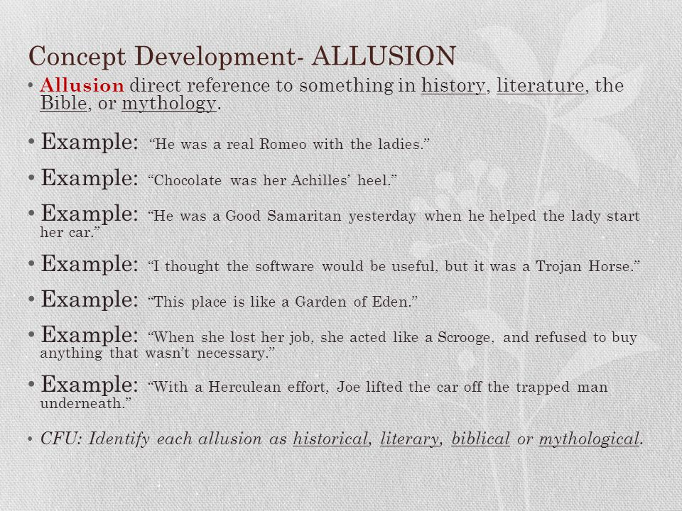 Concept Development- ALLUSION