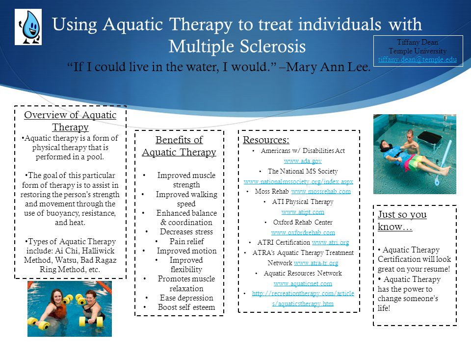 Using Aquatic Therapy to treat individuals with Multiple Sclerosis