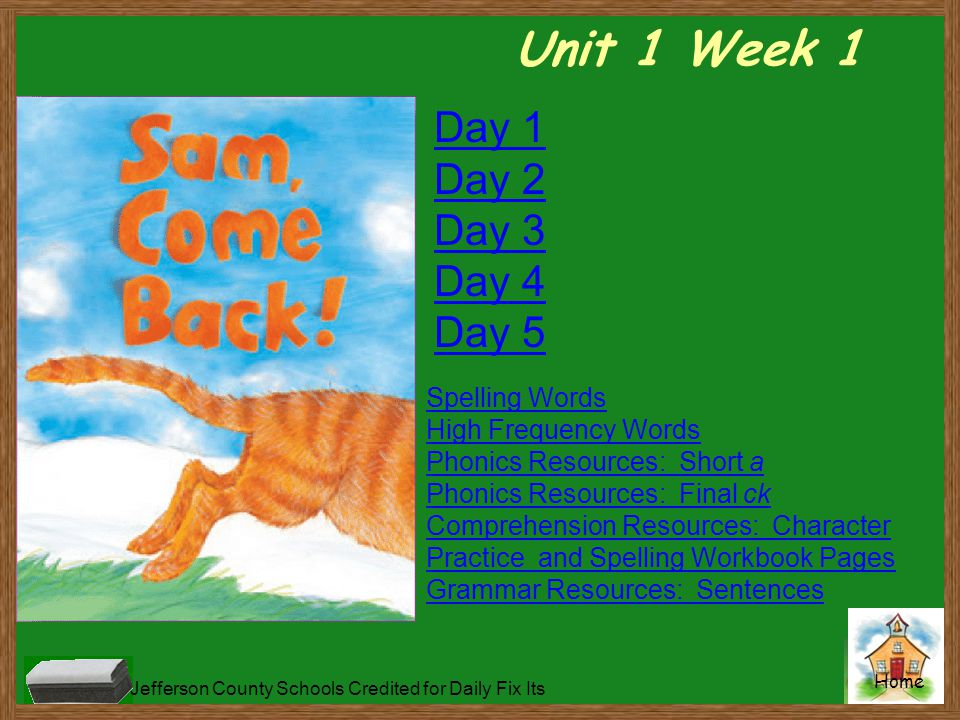 Unit 1 Week 1 Day 1 Day 2 Day 3 Day 4 Day 5 Spelling Words