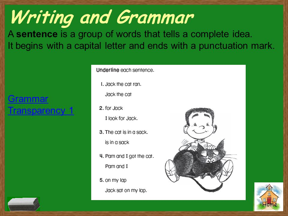 Writing and Grammar A sentence is a group of words that tells a complete idea. It begins with a capital letter and ends with a punctuation mark.