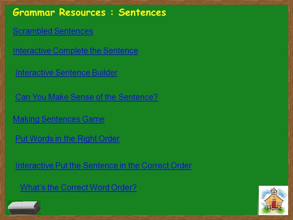 Grammar Resources : Sentences