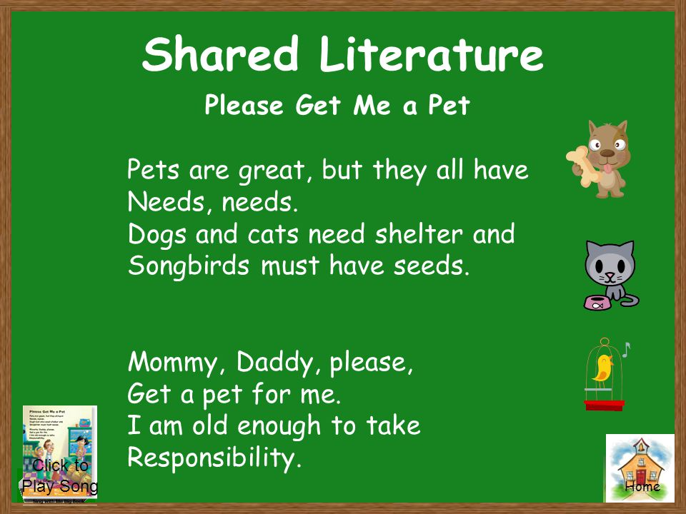 Shared Literature Please Get Me a Pet