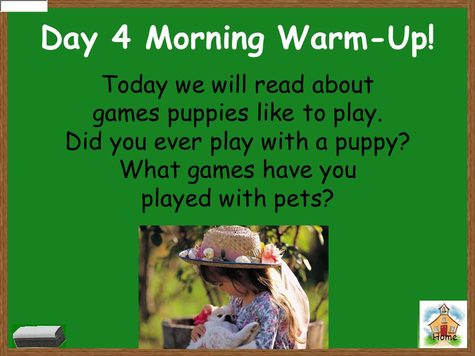 Day 4 Morning Warm-Up! Today we will read about