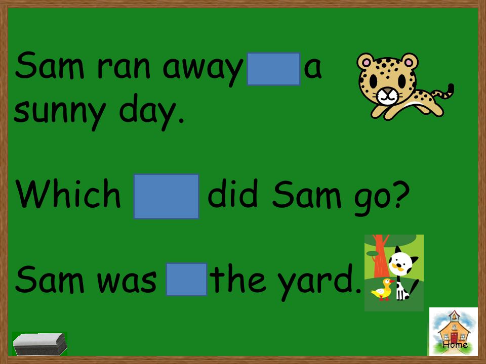 Sam ran away on a sunny day. Which way did Sam go Sam was in the yard.