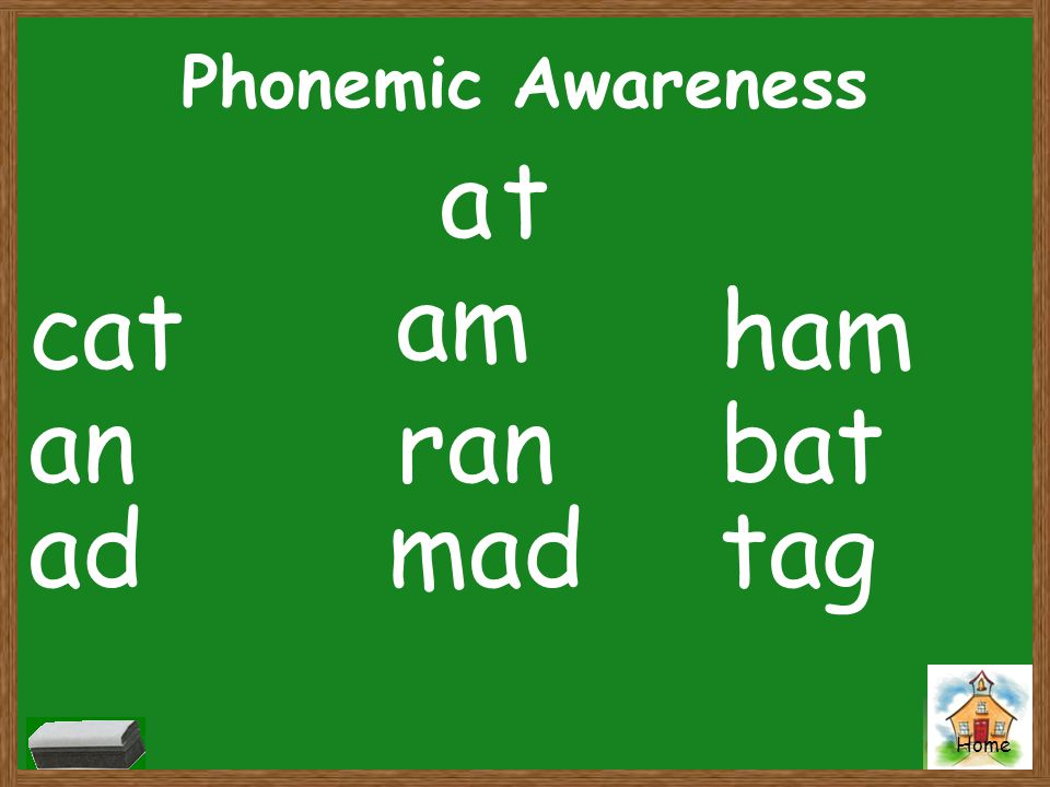 Phonemic Awareness a t am cat ham an ran bat ad mad tag