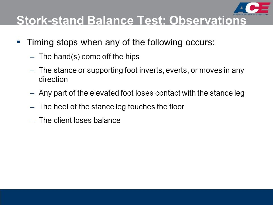 Stork-stand Balance Test: Observations