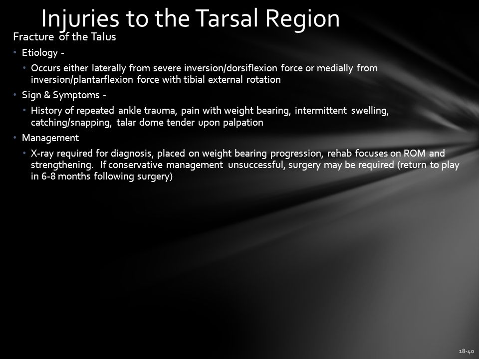 Injuries to the Tarsal Region