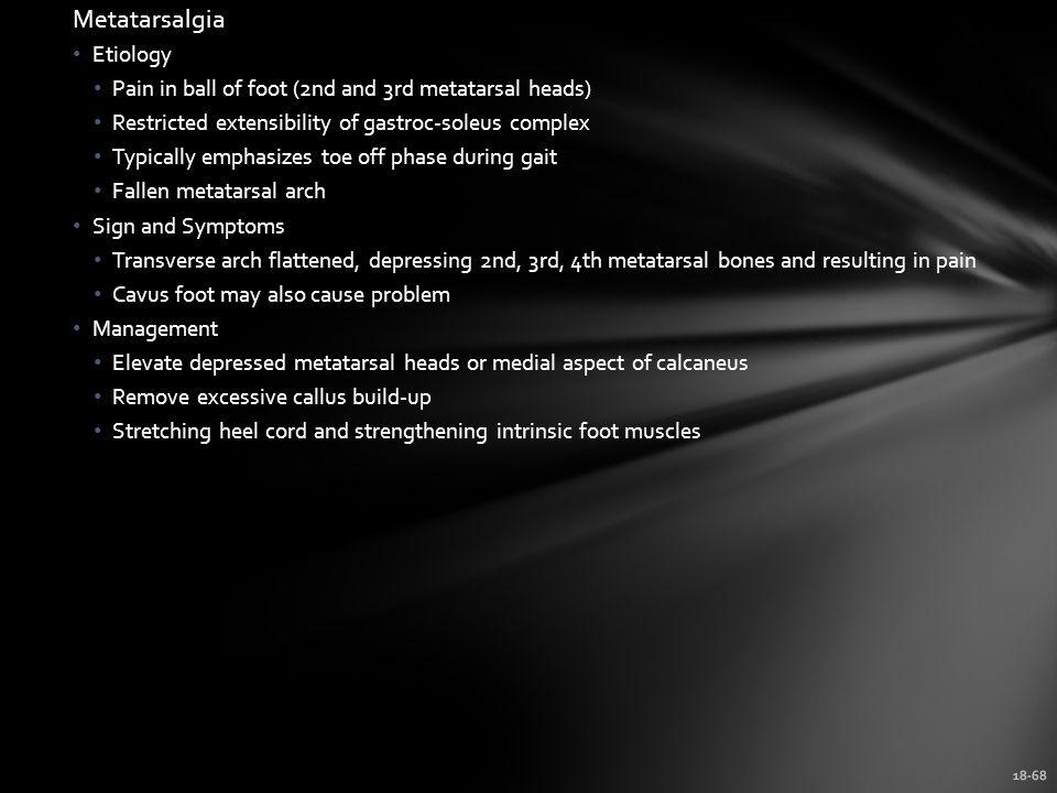 Metatarsalgia Etiology