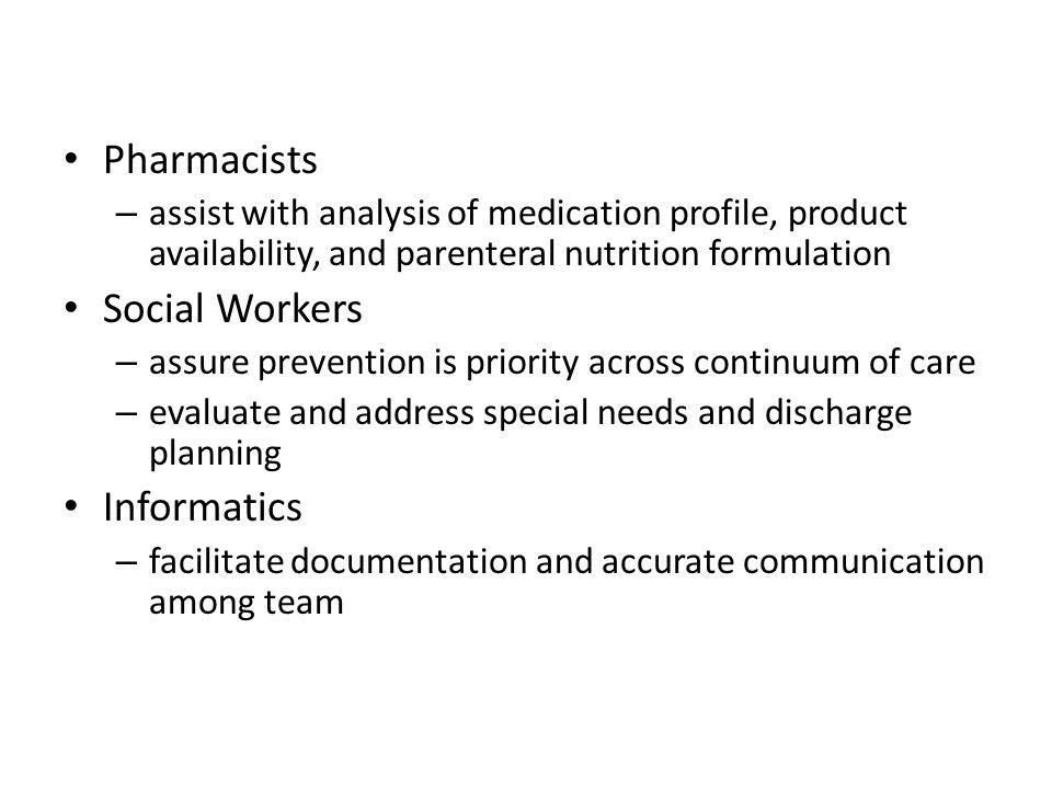 Pharmacists Social Workers Informatics