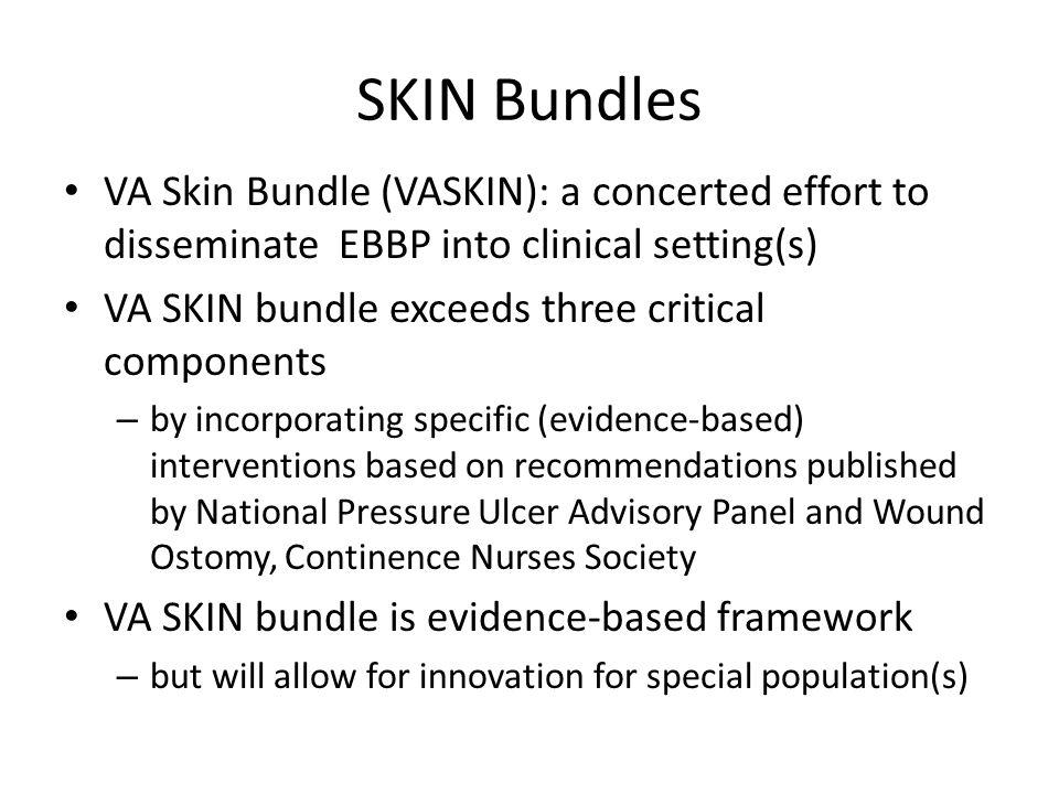 SKIN Bundles VA Skin Bundle (VASKIN): a concerted effort to disseminate EBBP into clinical setting(s)