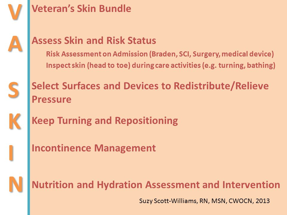 V A S K I N Veteran's Skin Bundle Assess Skin and Risk Status