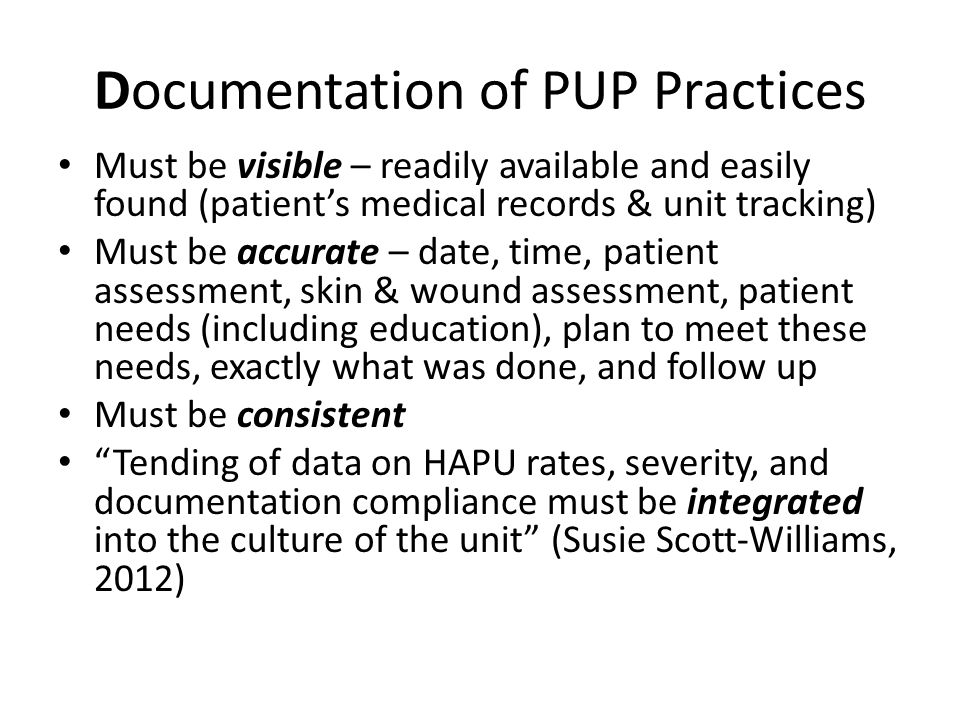 Documentation of PUP Practices