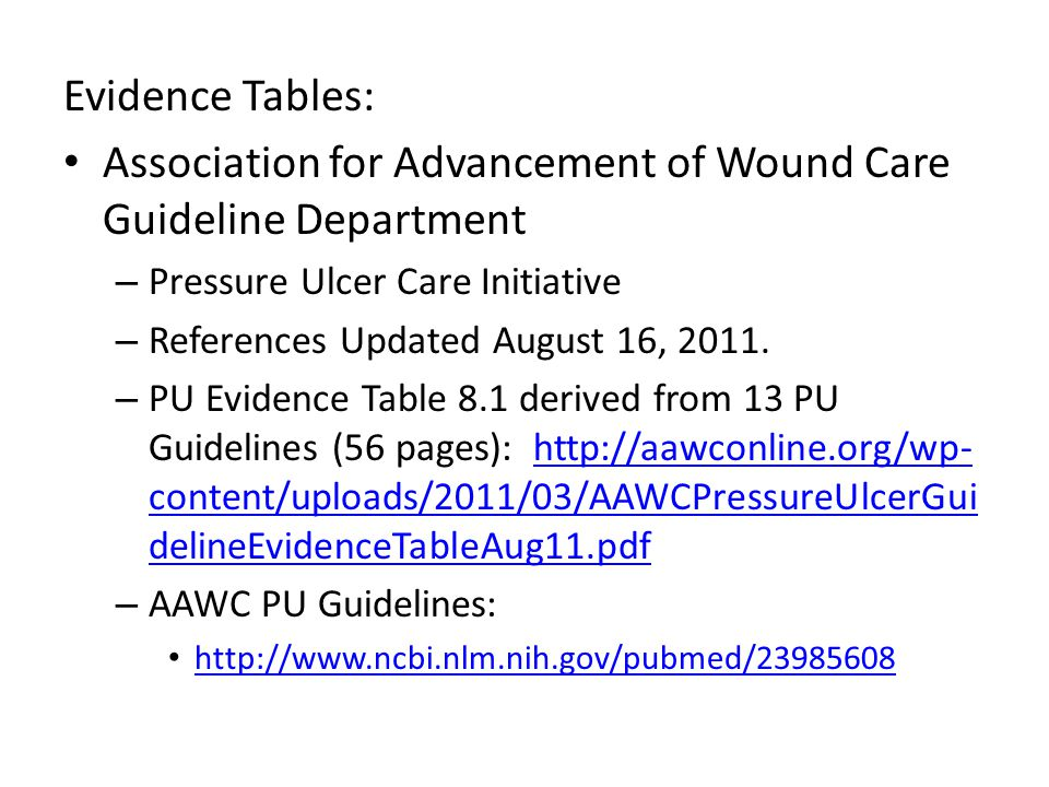 Association for Advancement of Wound Care Guideline Department