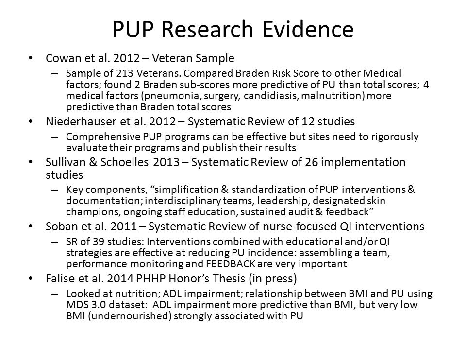 PUP Research Evidence Cowan et al. 2012 – Veteran Sample
