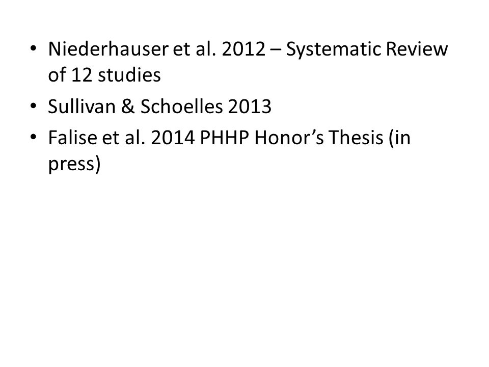 Niederhauser et al. 2012 – Systematic Review of 12 studies