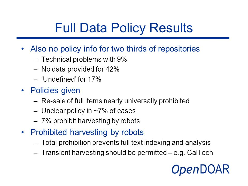 Full Data Policy Results