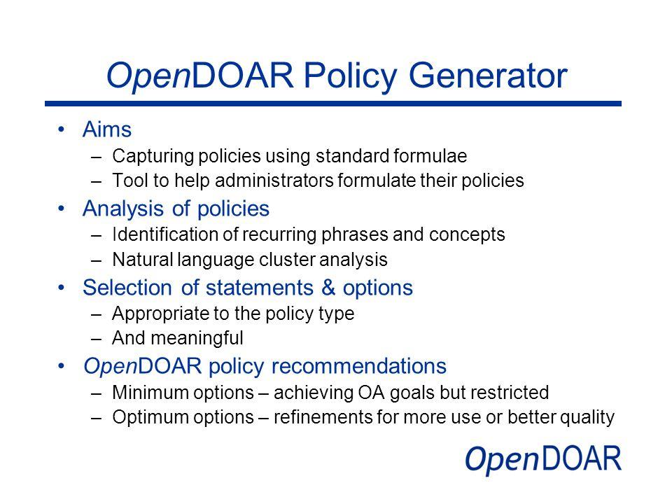 OpenDOAR Policy Generator