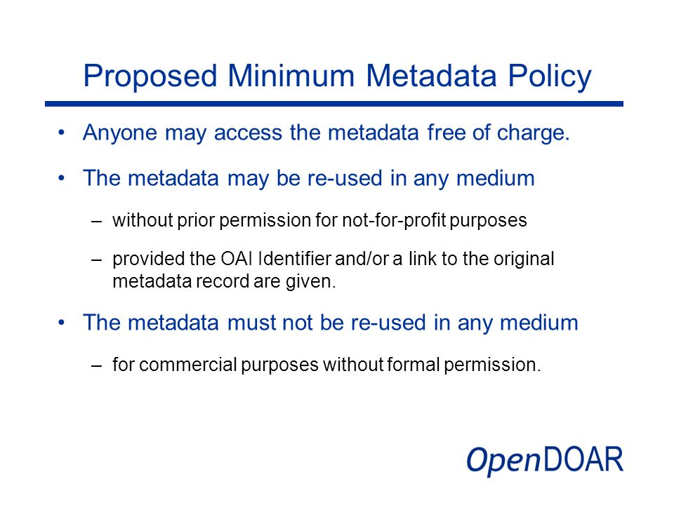 Proposed Minimum Metadata Policy