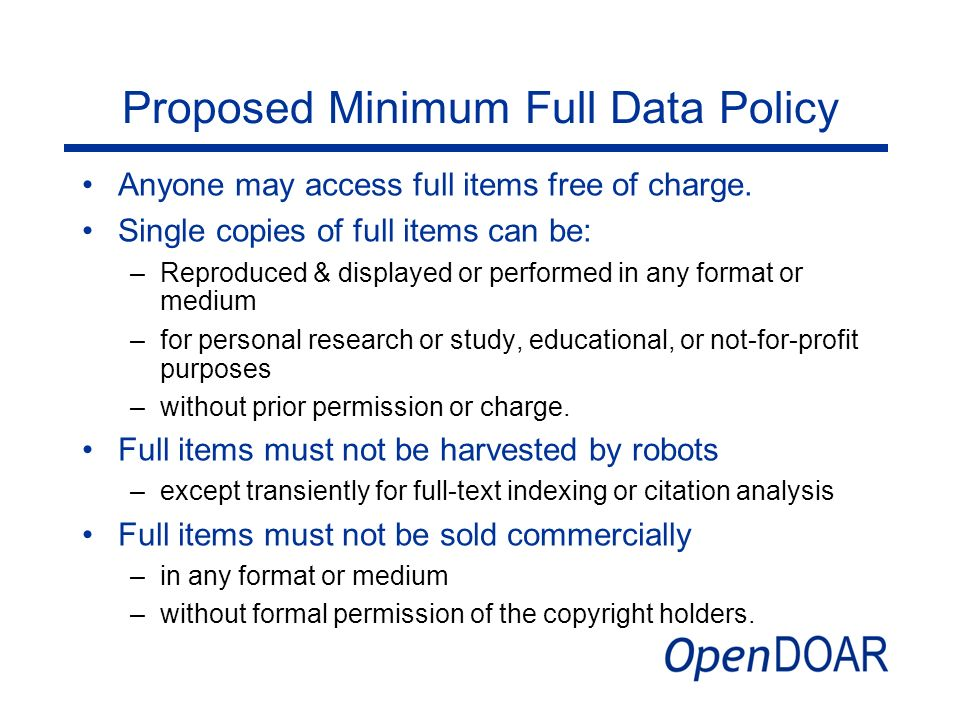 Proposed Minimum Full Data Policy