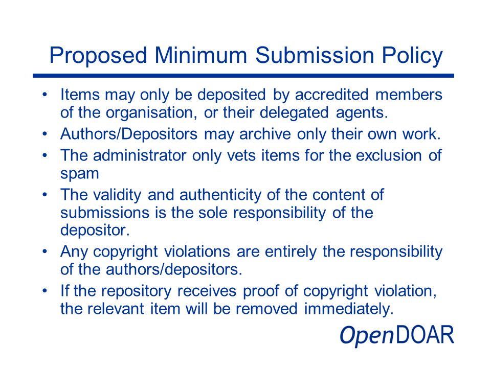 Proposed Minimum Submission Policy