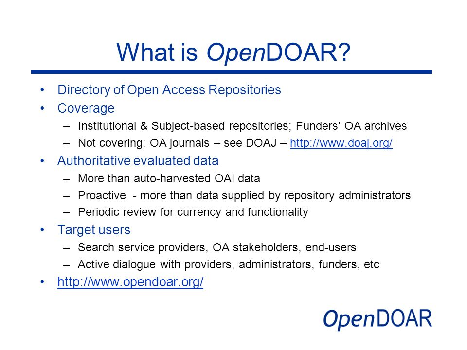 What is OpenDOAR Directory of Open Access Repositories Coverage