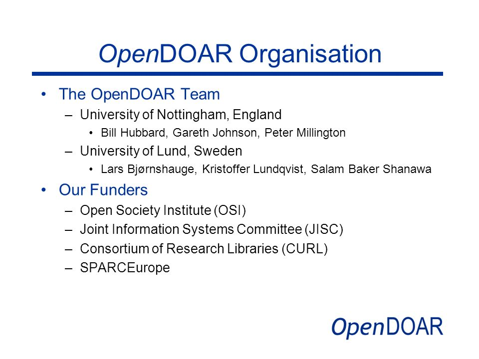 OpenDOAR Organisation