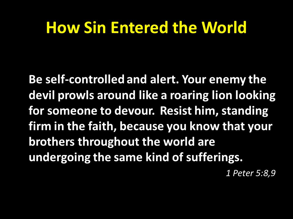 How Sin Entered the World