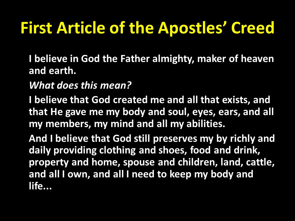 First Article of the Apostles' Creed