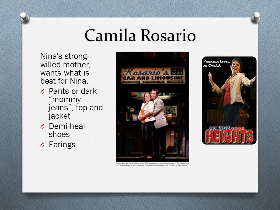 Camila Rosario Nina s strong-willed mother, wants what is best for Nina. Pants or dark mommy jeans , top and jacket.