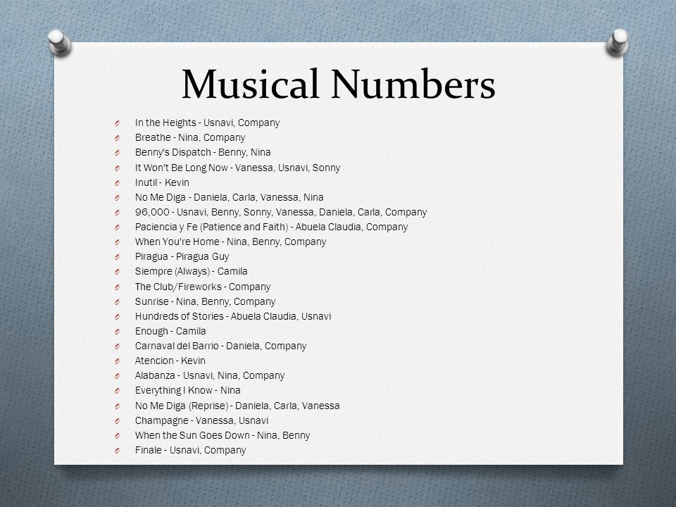 Musical Numbers In the Heights - Usnavi, Company