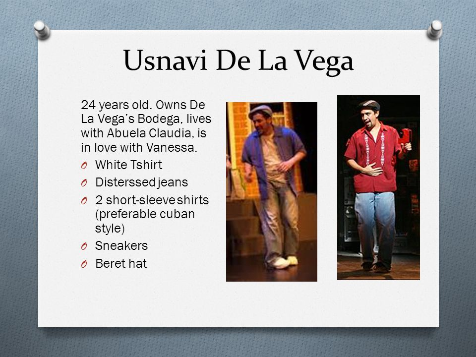 Usnavi De La Vega 24 years old. Owns De La Vega's Bodega, lives with Abuela Claudia, is in love with Vanessa.