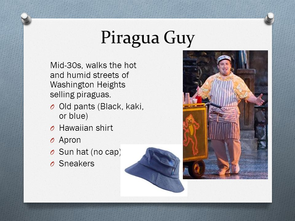 Piragua Guy Mid-30s, walks the hot and humid streets of Washington Heights selling piraguas. Old pants (Black, kaki, or blue)