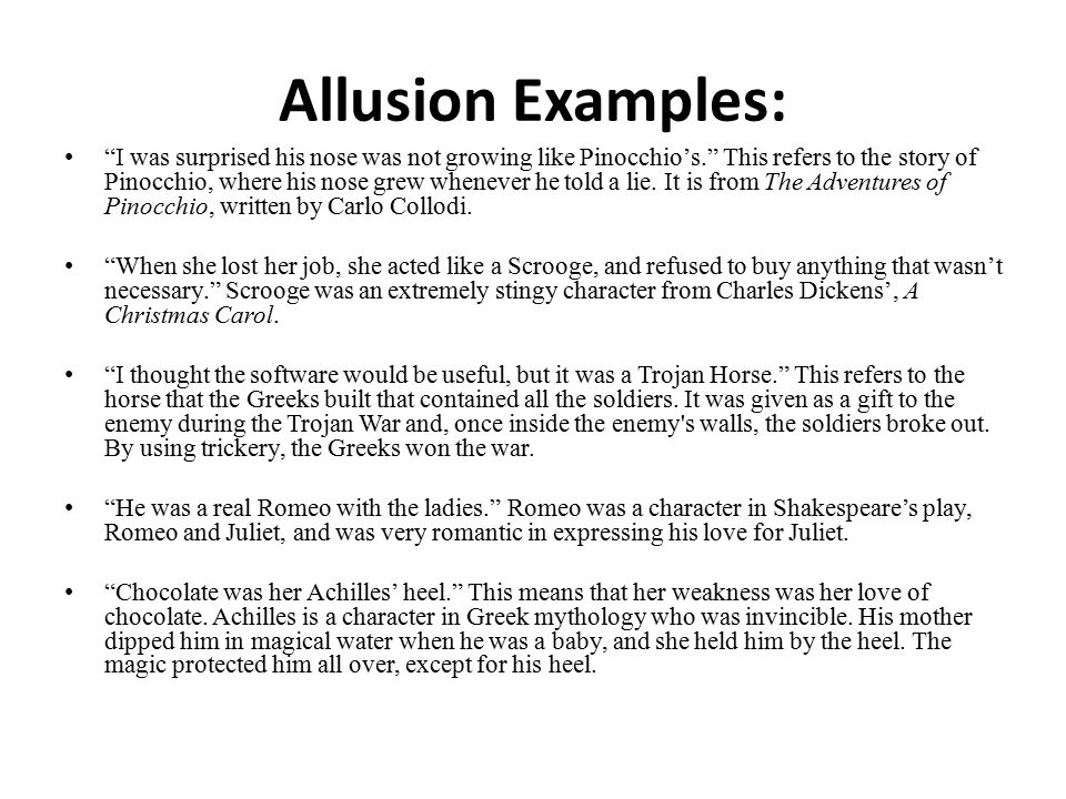 Allusion Examples: