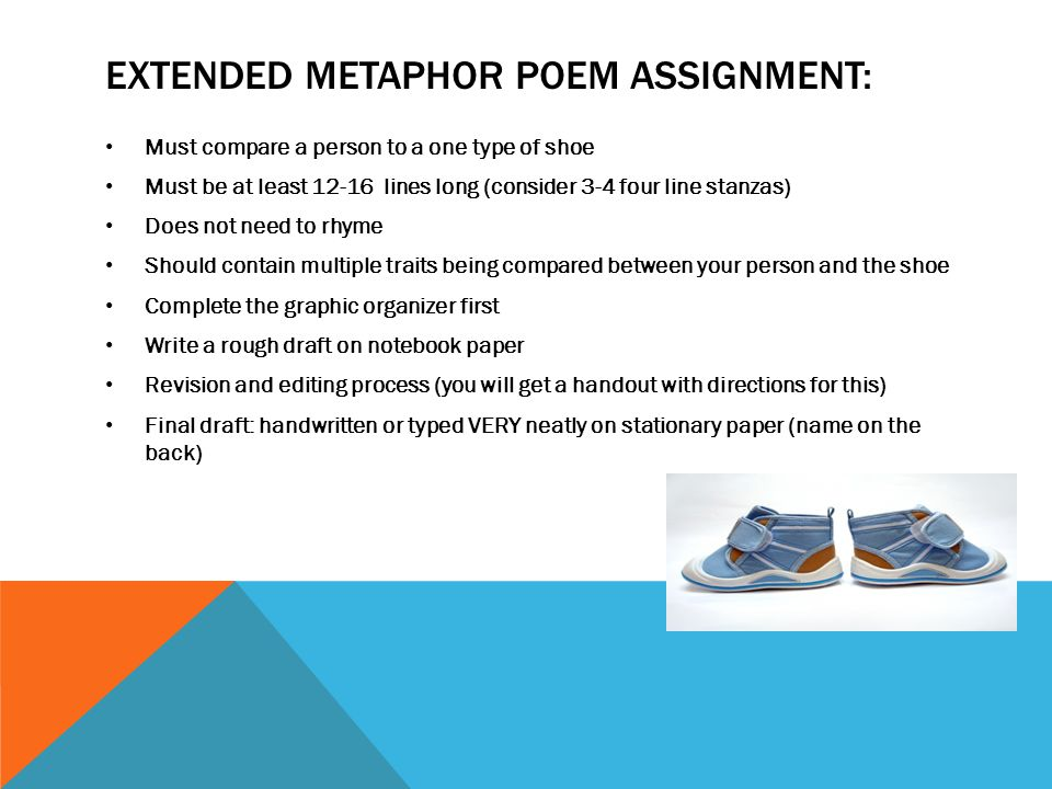 Extended metaphor Poem Assignment:
