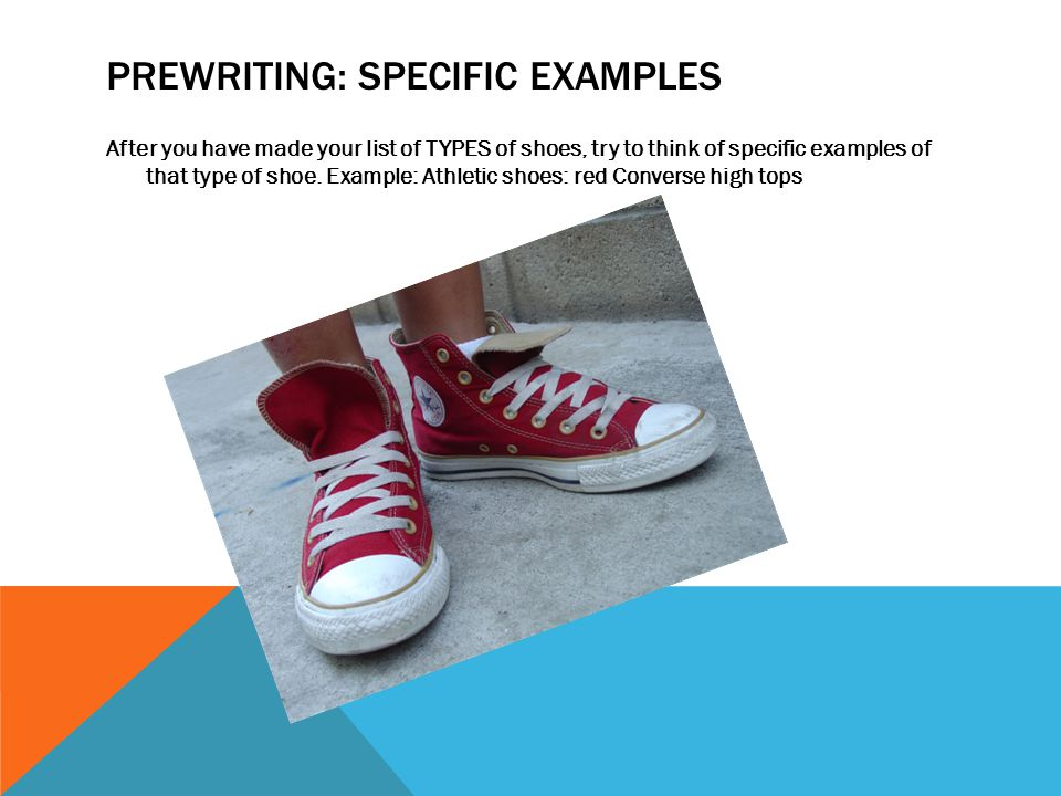Prewriting: specific examples