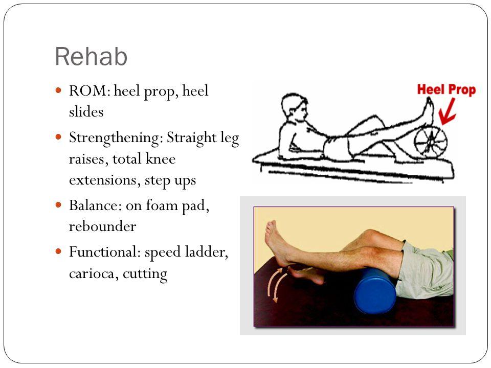 Rehab ROM: heel prop, heel slides
