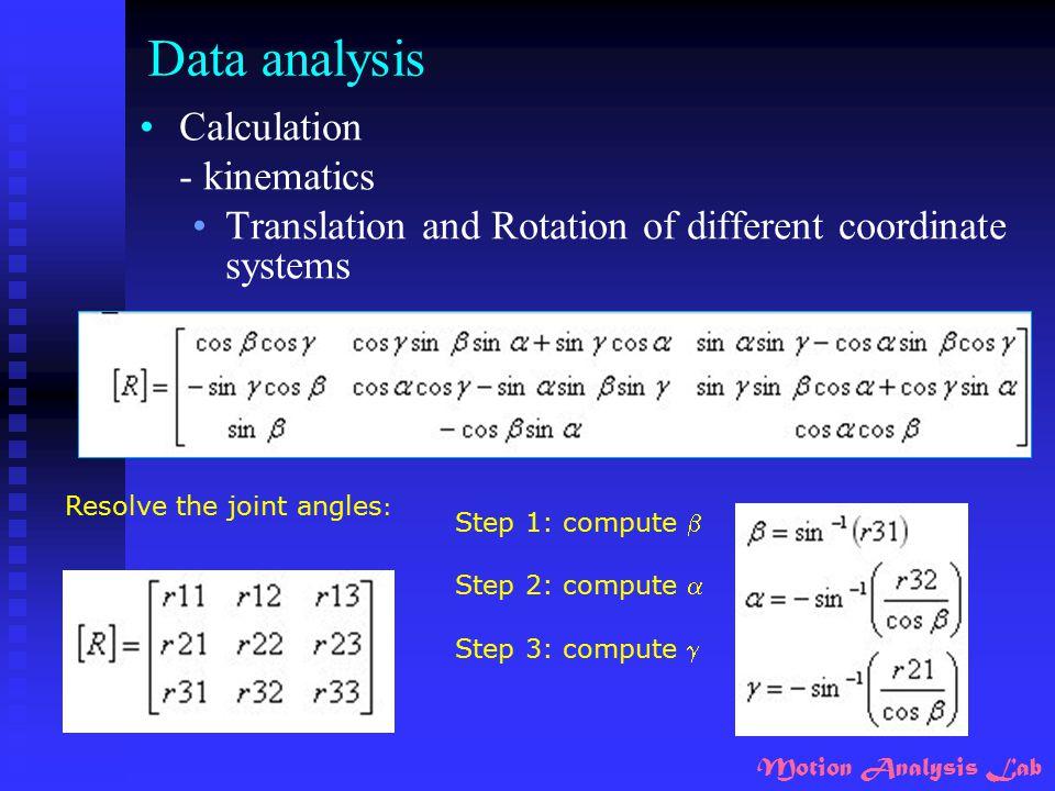 Data analysis Calculation - kinematics