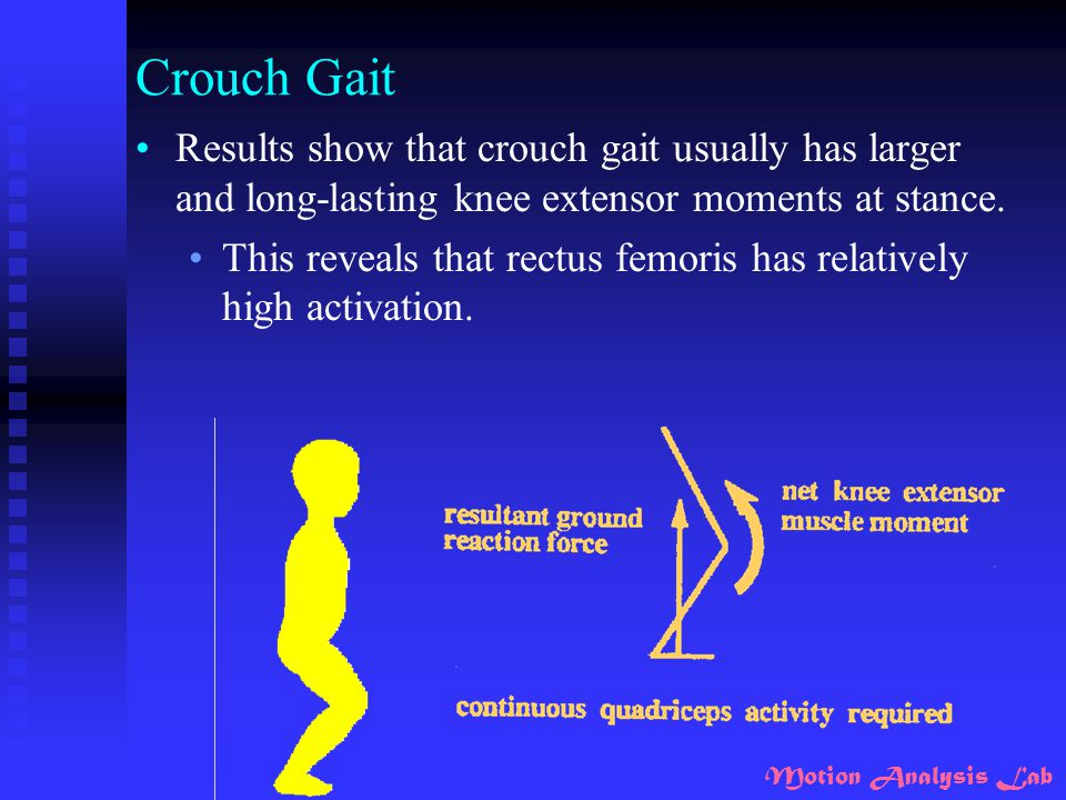 Crouch Gait Results show that crouch gait usually has larger and long-lasting knee extensor moments at stance.