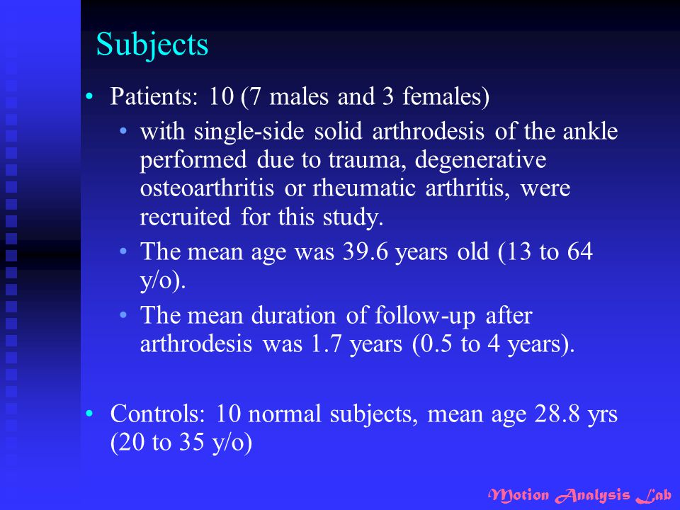 Subjects Patients: 10 (7 males and 3 females)