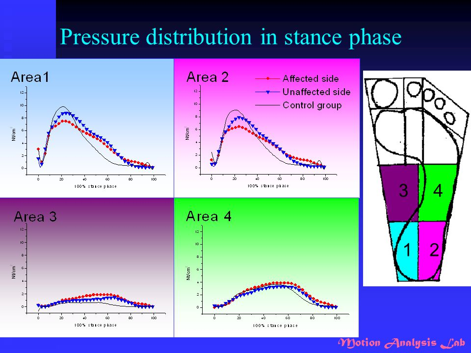 Pressure distribution in stance phase